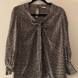 Kate Spade black and cream printed silk blouse xxs